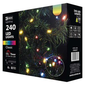 Lampki choinkowe 240 LED 24m multikolor, timer